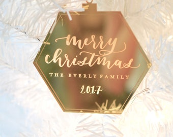 Custom Laser Cut 'Merry Christmas' Engraved Calligraphy Ornament