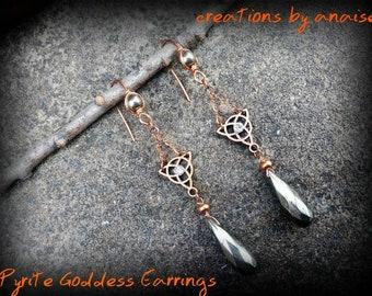 Copper Pyrite Triquerta Earrings, Triple Goddess, Celtic Gemstone, Wiccan, Pagan, New Age, Bohemian