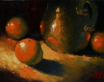 Oranges with a Vase, 12''x9'' Oil
