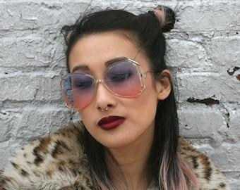 Vintage Luxotica Avant Garde BOHO Blue Rose Sunglasses Frames