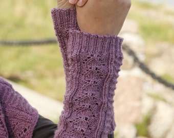 Handmade hand knit wrist / arm / hand warmers with lace pattern in soft alpaca wool and silk blend