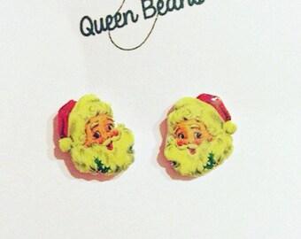 Vintage Santa Stud Earrings