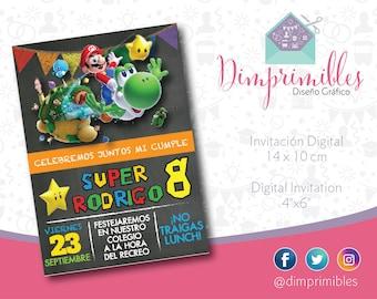 Mario Bros Invitation, Mario Bros Printable, Mario Bros party, Mario Bros Birthday, Mario Bros Game, Mario Bros Galaxy