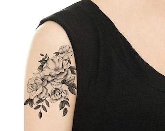 TEMPORARY TATTOO - Vintage Camellia / Cat with Flowers / Dog with Flowers / Tattoo Flash