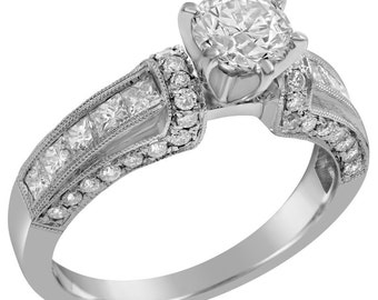 Round Antique Style diamond engagement ring KR126