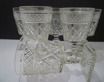 WEXFORD GLASS DESERTS.  Set of 6 Vintage Wexford Glass Deserts, berries,  EnglishTrifles. Small Water/Wines. Vintage 1960's Wexford Glass.