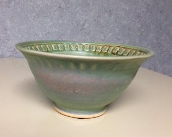 Beautiful OOAK Green Pottery Bowl
