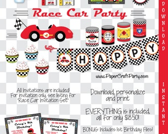 Race Car Printable Party Kit - Racing Invite & Decorations - Race Car Invitation - INSTANT DOWNLOAD and Edit in Adobe Reader - Matchbox