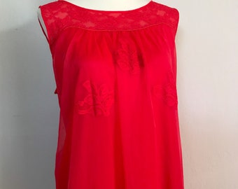 1960s Red Nighty / Nightgown / Large