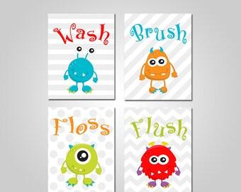 Monsters Kids Bathroom Wall Art - Monsters Kids Bathroom Wall Art - Monsters Printable Wall Art - INSTANT DOWNLOAD - DIY Printable Wall Art