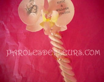 Tube sweets artificial Orchid with text and color choice photo