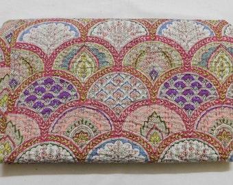 Indian Handmade Kantha Quilt Bedspread Throw Cotton Blanket Gudari-Twin.
