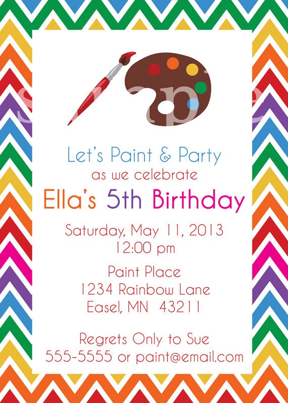 items similar to jpeg print your own art paint party invitations on etsy