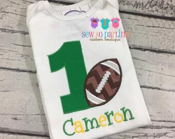 Football Birthday Shirt - 1st Birthday Football Shirt - Green and Yellow football Birthday Shirt -  - Boy Birthday shirt - Football Birthday