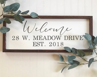 Welcome sign, address sign, our first home sign, home sweet home sign, housewarming gift
