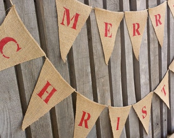 MERRY CHRISTMAS burlap banner, garland, Holiday garland