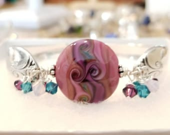 Spoon Bracelet with Artisan Lampwork Glass Focal Bead by Pearly Karpel