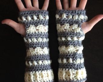 Crochet Fingerless Glove Pattern - Cabin Nights Fingerless Gloves - Crochet Wrist Warmer, Arm Warmer Tutorial - Instant Download!