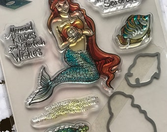 Stampendous Clear Stamps and Dies Set - Mermaid - Clear stamps/3D Card/Coloring Stamps/Happy Mails/cardmaker
