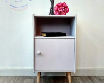Now Sold Commissions considered vintage bedside cabinet/tapered legs/bedside table/pink wooden bedside cabinet/hand painted/shabby chic/