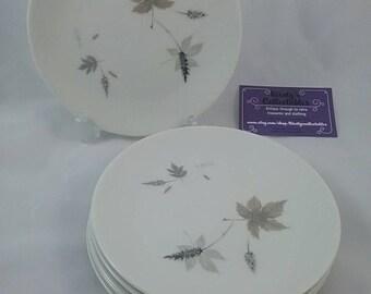 Royal Doulton Tumbling leaves sandwich side plates, translucent china 1950s plates. Set of 6 vintage plates.
