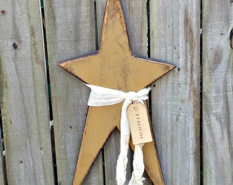 Very Primitive Wood Star -  Handmade - Solid Wood - Wall Decor