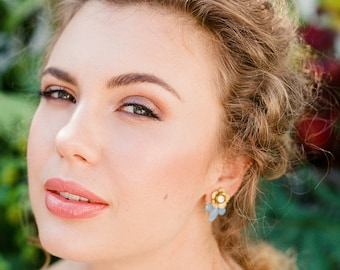 Belle Gold Flower Earrings with blue accent