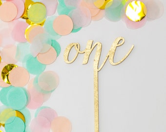 One Cake Topper, One Gold Cake Topper, One Wood Cake Topper, One Year Old Birthday, First Birthday Cake Topper, Custom Laser Cut Cake Topper