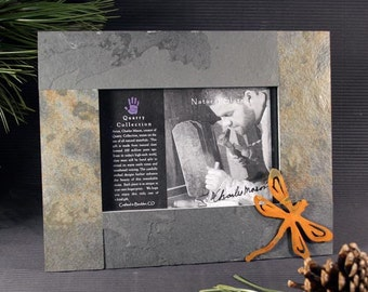 Natural Stone and Metal Frame - 4x6 Dragonfly on Mixed Slate