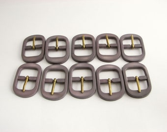 10 small grey belt buckles, plastic belt buckles for pursemaking and other straps, unused sewing supplies!