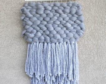Grey Wall Weaving, Home Interior Decor, Chunky Wall Weaving,Grey Wall Weave, Wall Tapestry, Long Weaving,  Handwoven Tapestry, Nursery Art