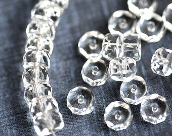 Crystal Clear Rondelle beads, fire polished czech glass spacers - 6x3mm - 25Pc - 0598