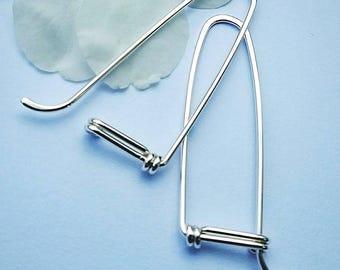 Long Hoop Earrings, Sterling Hoop Earrings, Silver Hoops, Gift for Her Under 50
