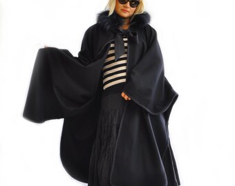 Maxi Black Wool Cape Coat Cloak/Extravagant Hooded Cape/Woman Winter Coat/Black fur hooded Coat/Extravagant coat/Oversize long cape/C1340