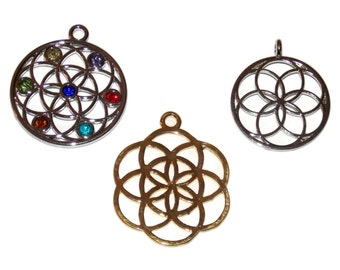 Flower of Life Charms - Large 1.4 Inch Pendant for Crafts and Jewelry Making - Chakra Namaste Metaphysical look for Music Festivals
