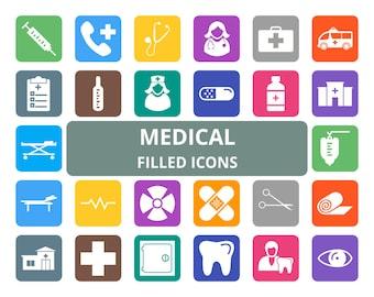 50 Medical Filled Round Corner Icons