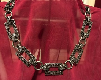 Vintage Chunky Rectangular Chain Necklace