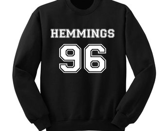 Hemmings 96 Sweatshirt, Luke Hemmings 5SOS Sweater, 5 Seconds of Summer Band Shirt, Crew Neck Sweatshirt, Fangirl Shirt, Black Grey White