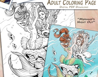 Mermaid's Night Out - Adult Coloring Page