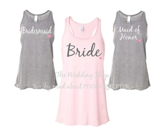 8 Bridal Party Flowy Racerback Tank Tops, Bride Shirt, Bridesmaid Shirts, Bachelorette party, Maid of Honor - Set of Eight