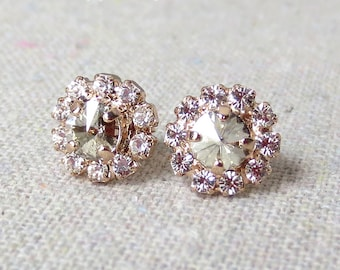 Swarovski Silver Shimmer Rivoli Cut Crystal Faux Diamond Pave Halo Rose Gold Bridal Post Earrings Wedding Bridesmaids Gifts