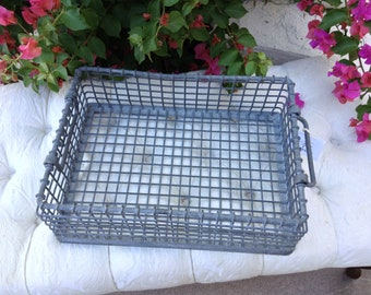 Vintage Iron Milk Bottle or Tulip Crate with Handles