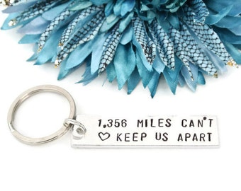 Personalized Miles Can't Keep Us Apart Hand Stamped Keychain | Long Distance Relationship | Boyfriend Gift | Girlfriend Gift | Deployment