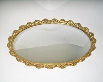 Vintage Vanity Mirror Oval Gold Rose Scalloped Edge Victorian Dresser Mirror