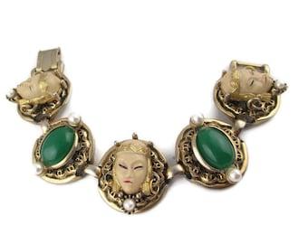Selro Cream Asian Princess Bracelet /Selini Medallion Green Oval Cabochon Bracelet / Selro Selini Gold Tone Circles  Faux Pearls Bracelet