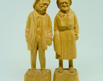 """Carved Wood; Figurines; Grandma and Grandpa; Set of Two; Approx. 6""""h x 2""""h; Signed !!!"""