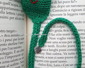bookmark frog- hand made- crochet