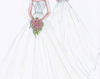 Custom Wedding - bride illustration FRONT and BACK