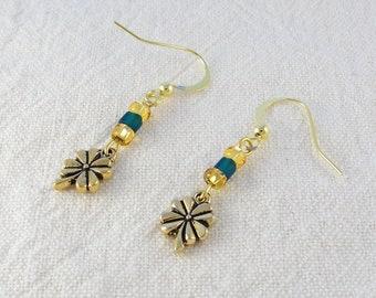 Gold shamrock earrings - beaded dangle earrings - glass bead earrings - lucky clover charm earrings