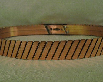 RENOIR COPPER Belt Size Small  3 Dimensional Slanted Bar Design With Removable Belt Buckle See My NEW Size Medium Belt